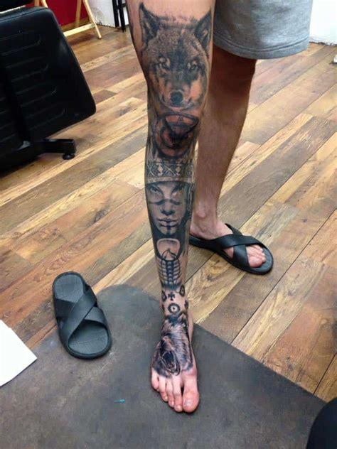 american indian wolf full leg tattoos birmingham ink