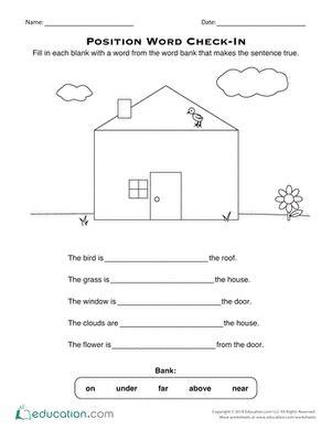 positional words worksheet education