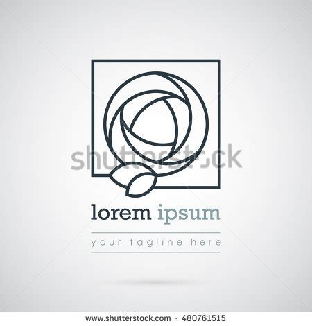 beautiful square logo template flower stock vector 480761515