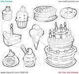 Dessert Coloring Desserts Pages Cakes Ice Cream Clipart Outlined Illustration Visekart Vector Royalty Within Animals Desert sketch template