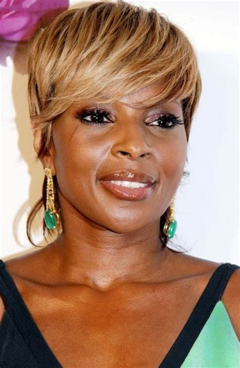 full golden fringe short urban chic haircut for afro american mary j blige hairstyle