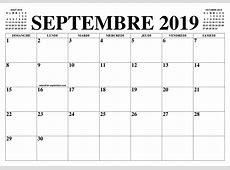 CALENDRIER SEPTEMBRE 2019 LE CALENDRIER DU MOIS DE