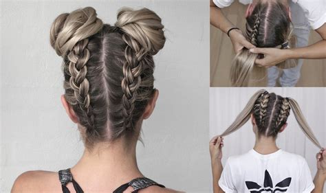 space buns double bun upside  dutch braid diy