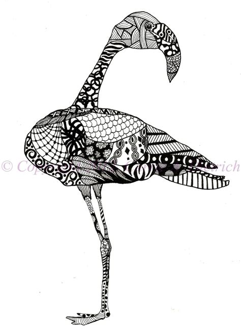 black  white art   ink animals flamingo bird