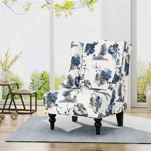 Toddman, High-back, Club, Chair, Floral, Print, Blue