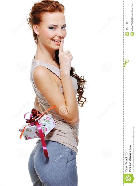 pretty woman hide    present box stock photo