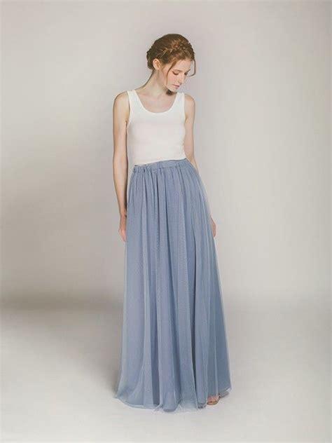 full length dusty blue tulle skirt  bridesmaids swbd