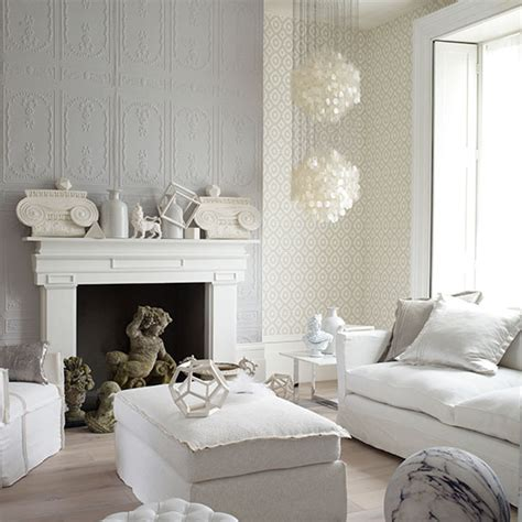 Decorative White And Grey Living Room  Living Room
