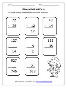 Grade 2 Worksheets Missing Subtract Parts