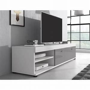 Meuble Gris Et Blanc : meuble tv gris laque achat vente meuble tv gris laque pas cher soldes d s le 10 janvier ~ Teatrodelosmanantiales.com Idées de Décoration
