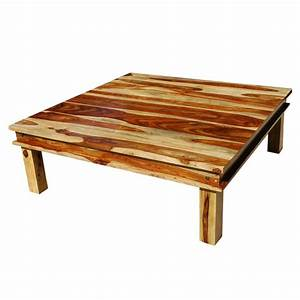 Large square wood rustic coffee table for Big wooden coffee table