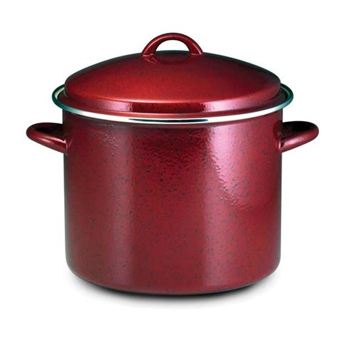 shop paula deen signature enamel  steel  quart red speckle covered stockpot  shipping