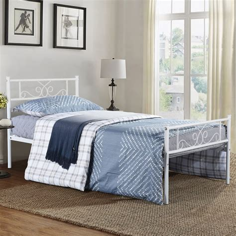 White Bed Frame And Mattress by Size Metal Bed Frame With Headboard And Footboard