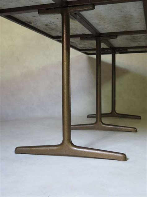 dining table with top and cast iron base