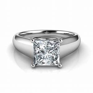 Lucida wide band princess cut solitaire diamond engagement for Princess cut solitaire engagement ring with wedding band