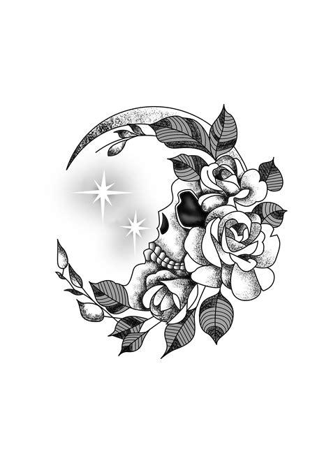 Flower Crescent Moon Skull Wrist Tattoo Design Black & White. Designer: Andrija Protic #