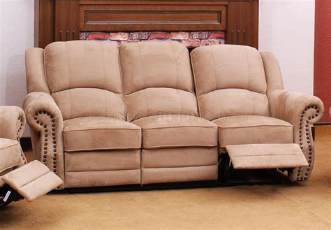 beige suede fabric traditional reclining sofa woptional items