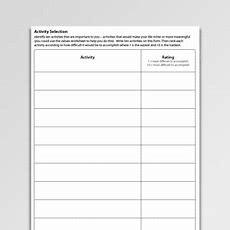 Activity Selection Workheet Pdf  Psychology Tools