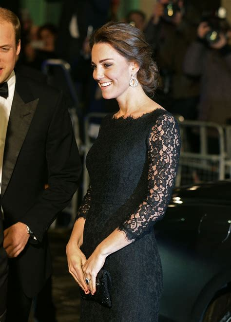 Radiant kate middleton dazzles in a recycled alexander mcqueen dress and £9,000 diamond necklace as she praises the 'huge sacrifices' made by nurses in new video message. Kate Middleton Royal Variety Performance 2017 Black Lace Long Sleeve Dress