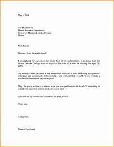 Job application letter in hospital