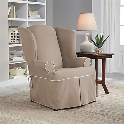Wing Chairs Slipcovers fit 174 classic twill wingback chair slipcover bed