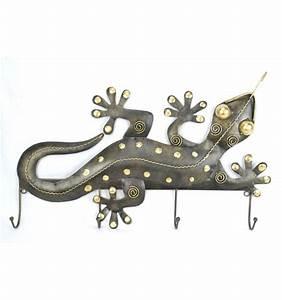 Patère Porte Manteau : pat re murale porte manteau gecko fer forg 4 crochets ~ Melissatoandfro.com Idées de Décoration