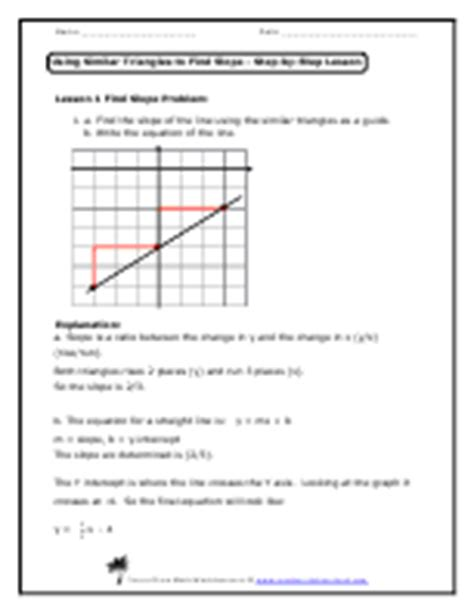 geometry finding slope worksheets write the slope