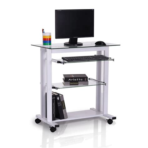 mobile computer desk for home homcom 33 quot contemporary glass top portable workstation