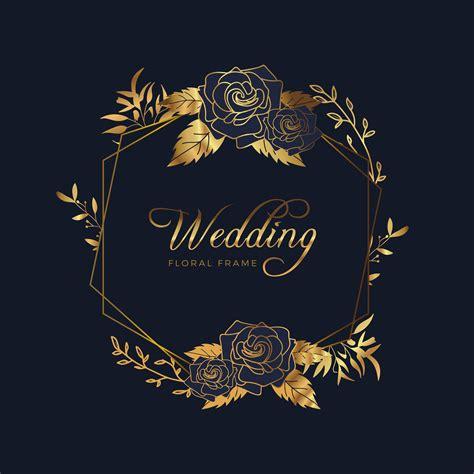 Golden Floral Frame Wedding Anniversary Background