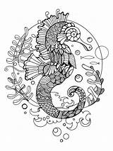 Coloring Adult Horse Sea Adults Tattoo Vector Zentangle Pages Seahorse Stress Illustration Stencil Anti Books Mandala Printable Colouring Pattern Seahorses sketch template