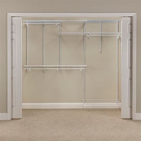 bed bath and beyond closet organizer closetmaid 174 shelftrack 174 5 foot to 8 foot wire closet