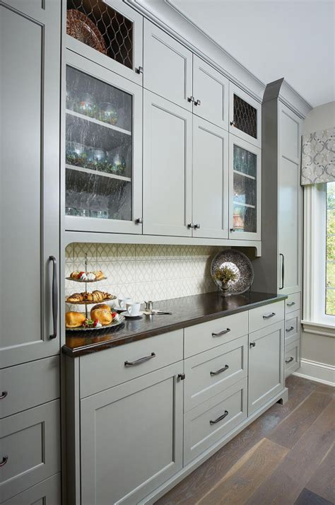 gray kitchen cabinets benjamin moore classic family home with paint colors home bunch 265   Kitchen Hutch Cabinet Painted in Benjamin Moore Chelsea Gray with seeded glass and chicken wire cabinet doors