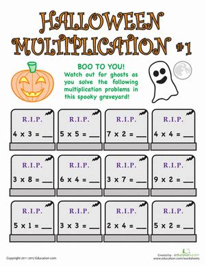 halloween multiplication worksheet education
