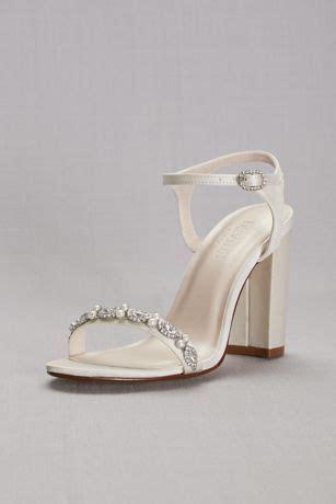 embellished satin block heel sandals davids bridal