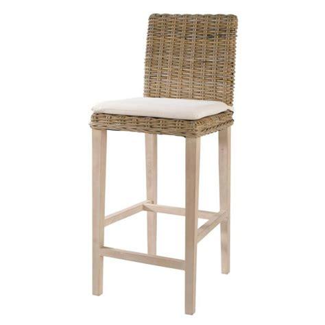 maison du monde chaise de bar chaise de bar en rotin et mahogany massif grisée key
