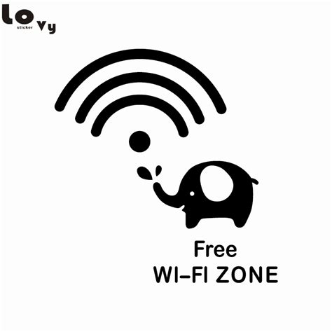 creative wifi vinyl wall sticker funny cartoon elephant
