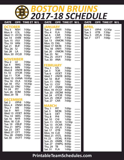boston bruins hockey schedule   nhl hockey