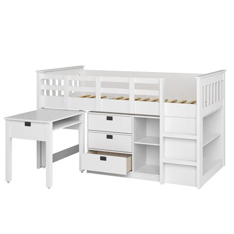 bed with desk and storage amazon com corliving bmg 310 b madison loft bed with