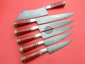 colored kitchen knives lot of 6 pcs damascus kitchen chef knives custom handmade