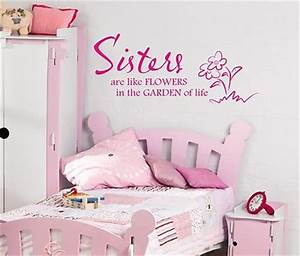Sisters are like flowers wall art sticker quote Childrens