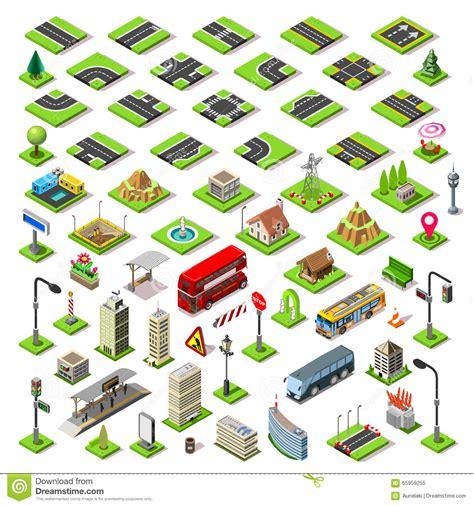 city map set  tiles isometric stock vector image