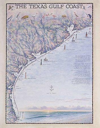 gulf coast map  texas watercolor print  moore art
