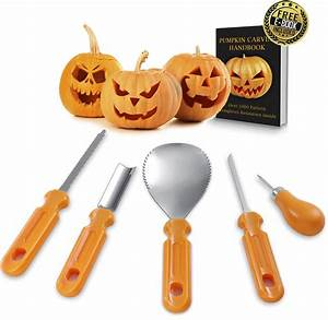 Pumpkin, Carving, Kit, U2013, Professional, Heavy, Duty, Stainless, Steel, Tool, Set, Includes, 5, High, Quality