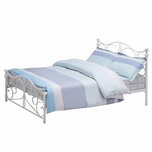 White Full Size Metal Bed Frame Cry Finial Headboard ...