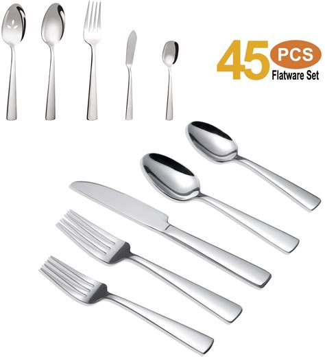 silverware flatware dishwasher safe rust piece brightown cutlery ergonomic proof weight durable stainless steel sets service