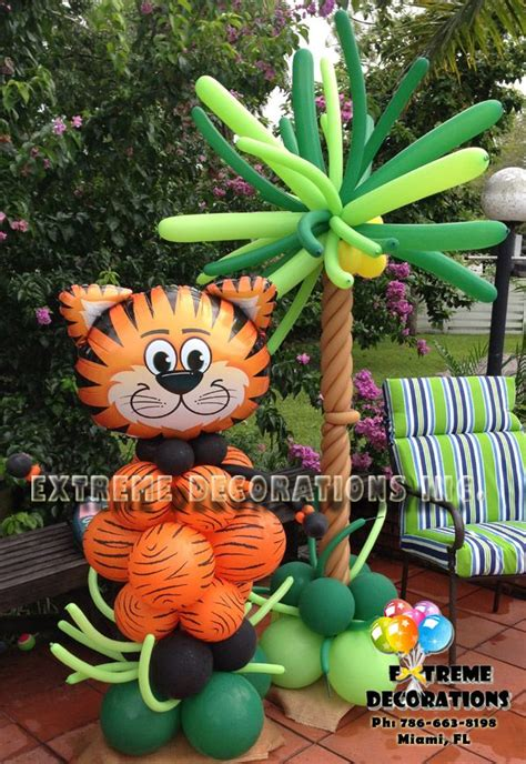 jungle theme party decorations balloon sculpture tiger