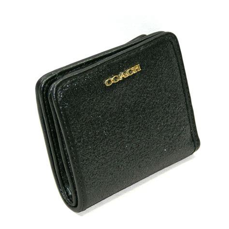 coach box glitter small wallet black  coach
