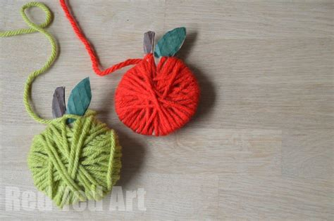 20 apple craft ideas ted s 466 | Yarn Wrapped Apple Crafts for Kids