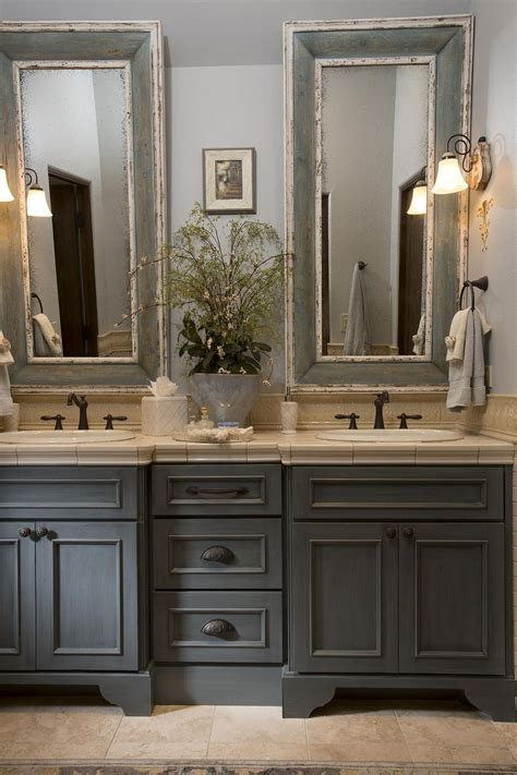 country bathroom gray washed cabinets mirrors