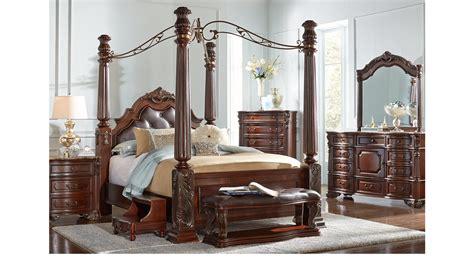 southampton walnut dark brown  pc queen canopy bedroom